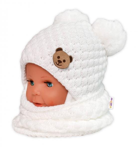 BABY NELLYS Pletený nákrčník/komínek  - bílý