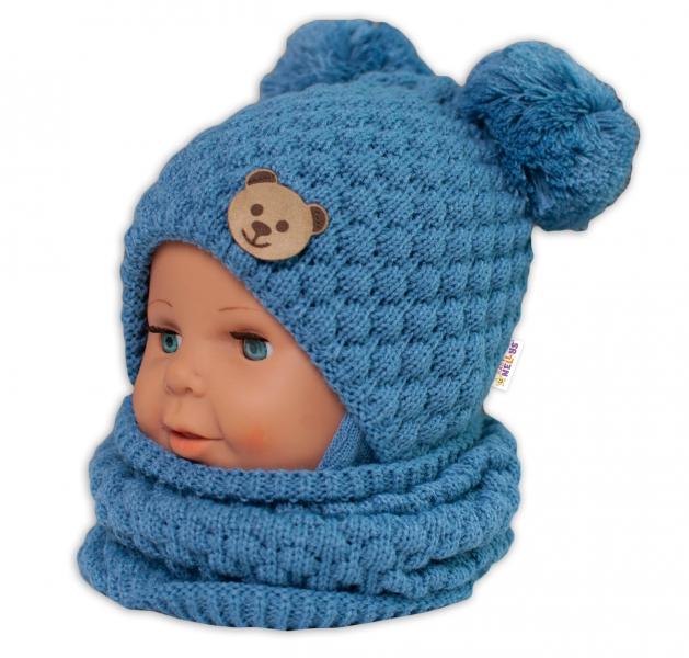 BABY NELLYS Pletený nákrčník/komínek  - modrý
