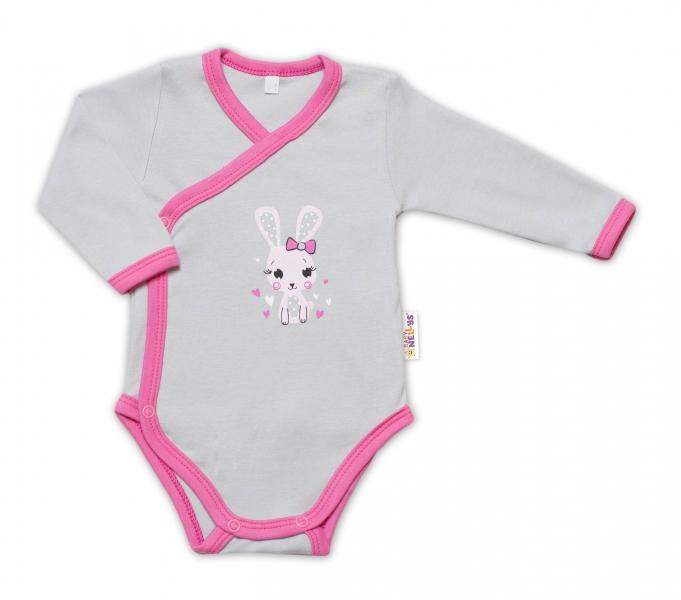 Baby Nellys Kojenecké body, dl. rukáv, zap. bokem Lovely Bunny - šedé/růžové vel. 50