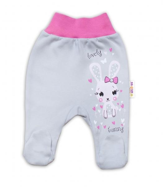 Baby Nellys Bavlněné kojenecké polodupačky, Lovely Bunny - šedé/ růžové, vel. 74