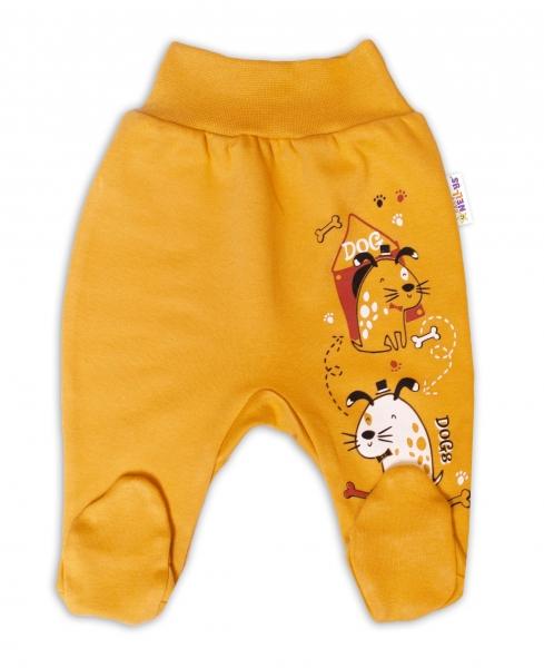 Baby Nellys Bavlněné kojenecké polodupačky, Dogs - hořčicové, vel. 74