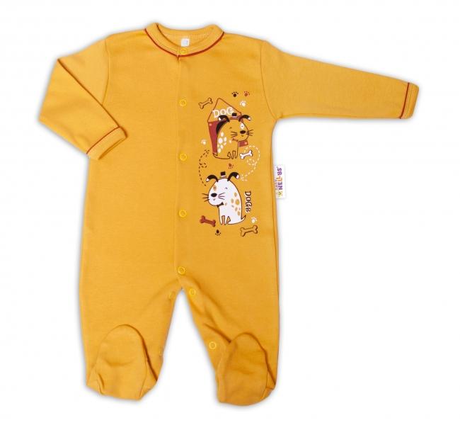 Baby Nellys Bavlněný kojenecký overal Dogs - hořčicový, vel. 74