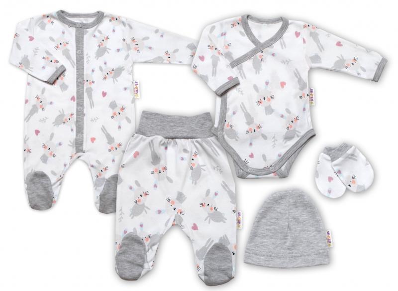 Baby Nellys 5-ti dílná sada do porodnice Cute Bunny, bílá/šedá, vel. 56, Velikost: 56-62 (0-3m)