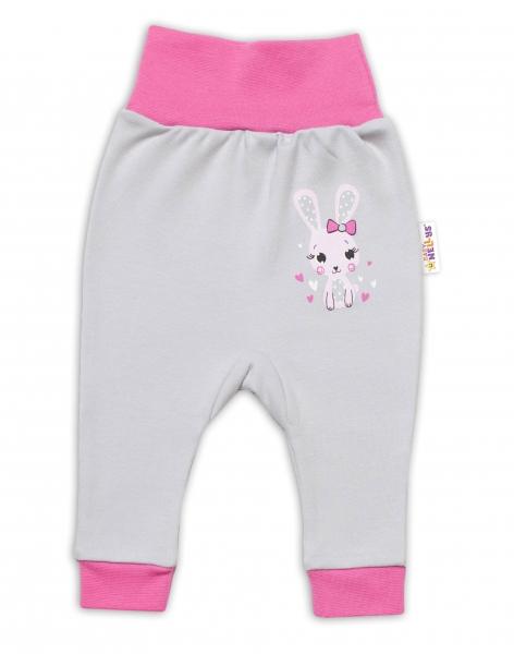 Baby Nellys Kojenecké tepláčky Lovely Bunny - šedé/růžové, vel. 74