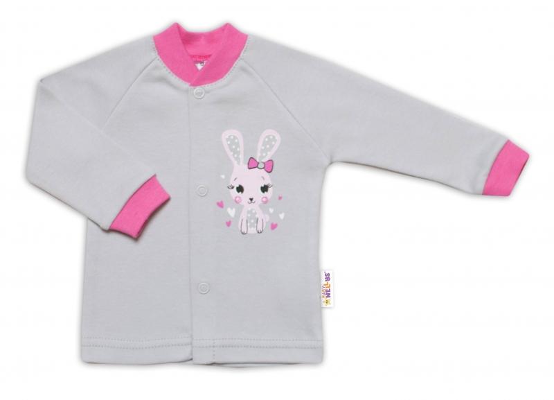 Baby Nellys Bavlněná košilka Lovely Bunny- šedá/růžová, vel. 56, Velikost: 56 (1-2m)