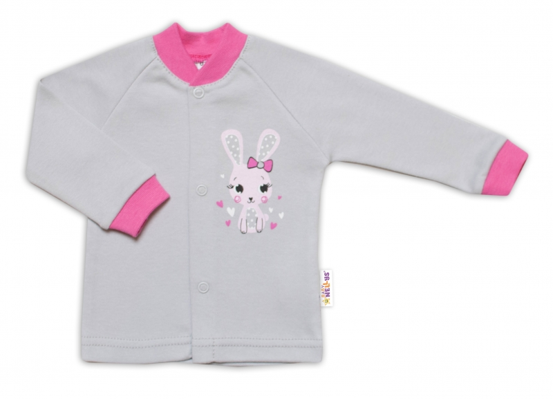 Baby Nellys Bavlněná košilka Lovely Bunny- šedá/růžová, vel. 62