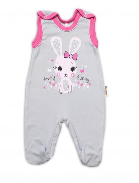 Baby Nellys bavlněné dupačky Lovely Bunny - šedé/růžové, vel. 62