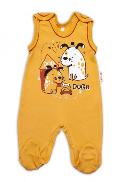 Baby Nellys bavlněné dupačky Dogs - hořčicové, vel. 74