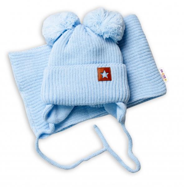 BABY NELLYS Zimní čepice s šálou STAR - modrá s bambulkami, vel. 68/80