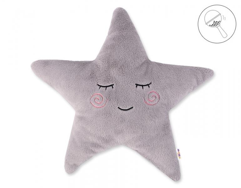 Baby Nellys Dekorační polštářek s chrastítkem Hvězdička, 40x40cm - šedá