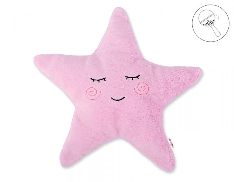 Baby Nellys Dekorační polštářek s chrastítkem Hvězdička, 40x40cm - růžová