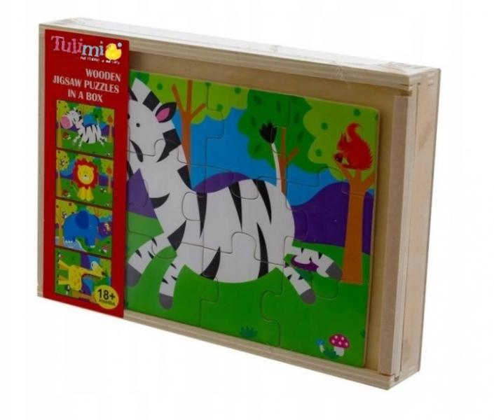 Tulimi Dřevěné zábavné puzzle 4v1 - Safari