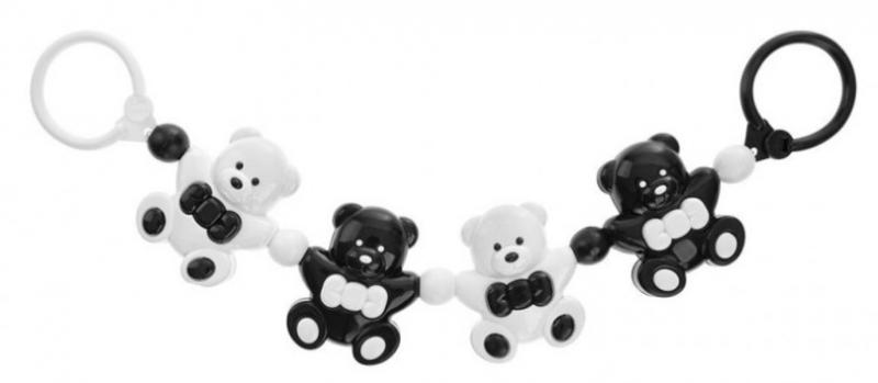 AKUKU Řetěz do kočárku - Medvídci, černá/bílá
