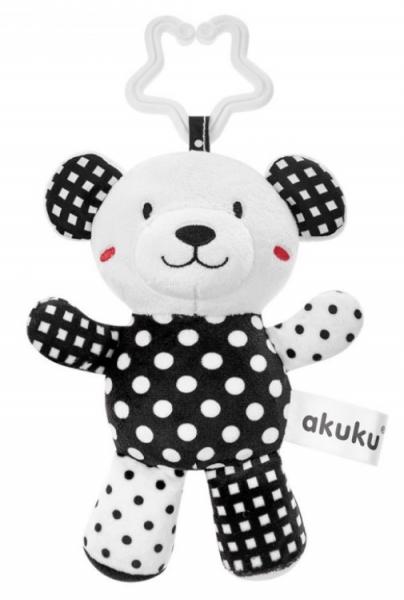 Akuku Plyšová hračka s chrastítkem - Medvídek, černo/bílá