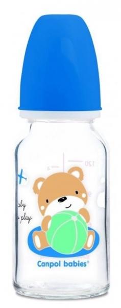 Skleněná lahvička 120 ml Canpol babies Sweet Fun - modrá