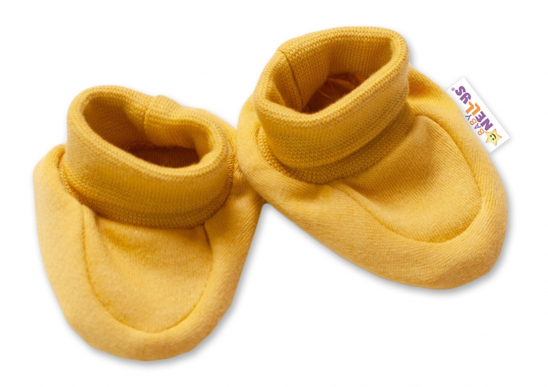 Baby Nellys Kojenecké botičky, ponožtičky Dogs - hořčicové