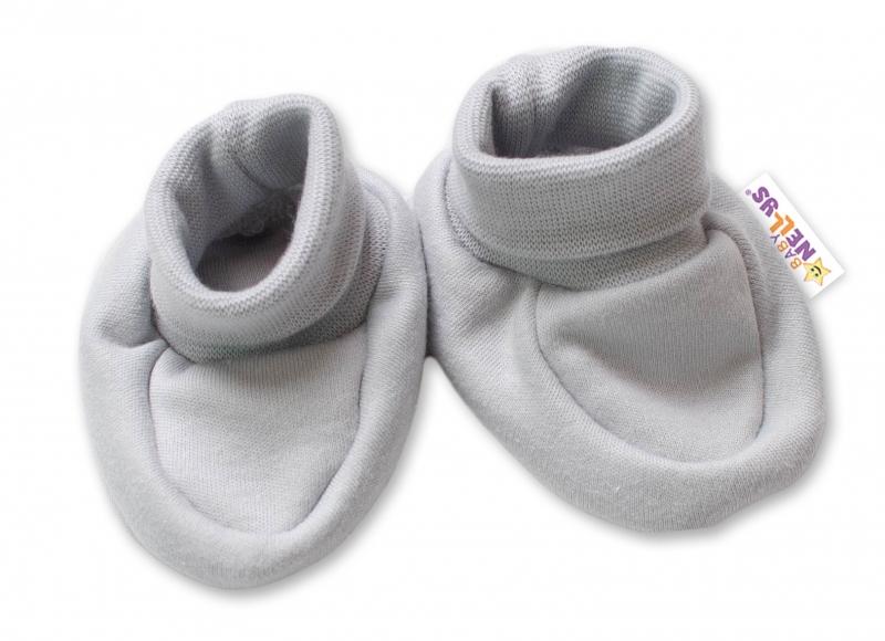 Baby Nellys Kojenecké botičky, ponožtičky Lovely Bunny - šedé