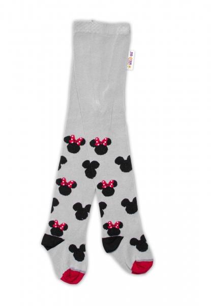 Baby Nellys Dětské punčocháče bavlněné, Minnie Mouse - šedé, vel. 80/86
