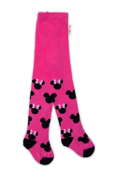 Baby Nellys Dětské punčocháče bavlněné, Minnie Mouse - malinové, vel. 80/86