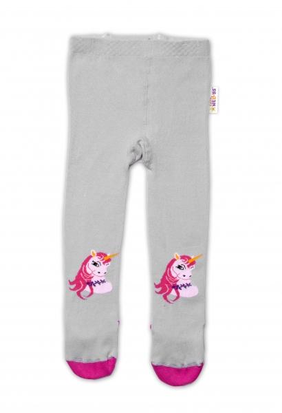 Baby Nellys Bavlněné punčocháče Unicorn - šedé