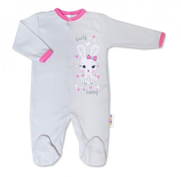 Baby Nellys Bavlněný kojenecký overal Lovely Bunny - šedý/růžový, vel. 74