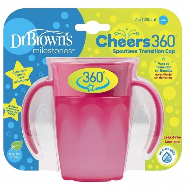 Dr.Browns Kouzelný hrneček s uchy Cheers 360°, 200ml, růžový