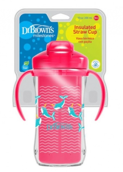 Dr.Browns Termální hrneček se slámkou Straw Cup, 300ml, růžový