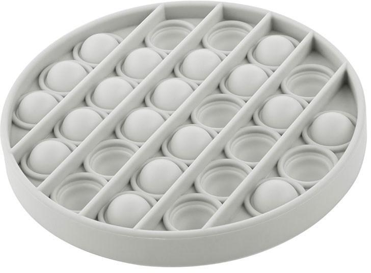 Akuku Pop It - Praskající bubliny, silikonová, antistresová spol. hra, Kruh, šedý