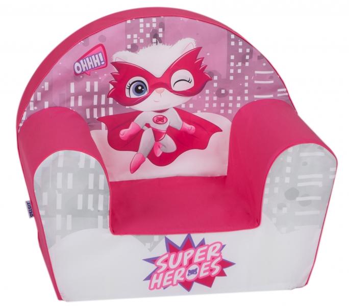 Delsit Dětské křesílko, pohovka - Cat Super Heroes, růžová