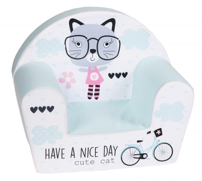 Delsit Dětské křesílko, pohovka - Cat have a nice day, mátové