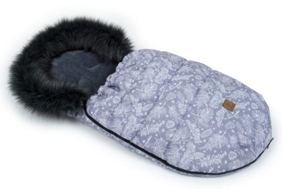 Mamo Tato Zimní fusak Lux s kožešinkou, Šišky, 50 x 100cm - grafit/šedý