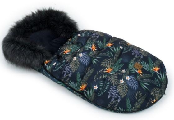 Mamo Tato Zimní fusak Lux s kožešinkou, Květy Tropic, 50 x 100cm - černý