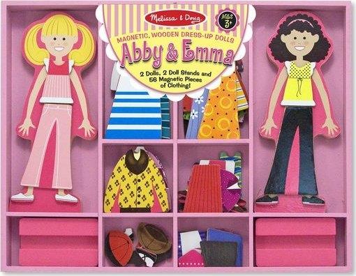 Melissa & Doug Dřevěné magnetické panenky na oblékání Abby a Emma