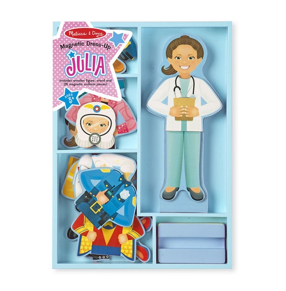 Melissa & Doug Dřevěná magnetická panenka na oblékání Julie