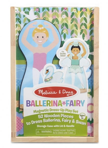 Melissa & Doug Dřevěná magnetická panenka na oblékání - Baletka