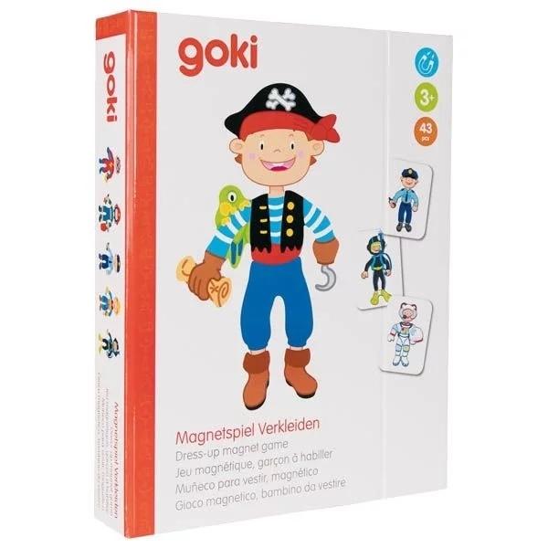 Goki Dřevěná magnetická skládačka v oblékání - kluk