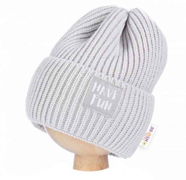 BABY NELLYS Zimní čepice Have Fun - šedá