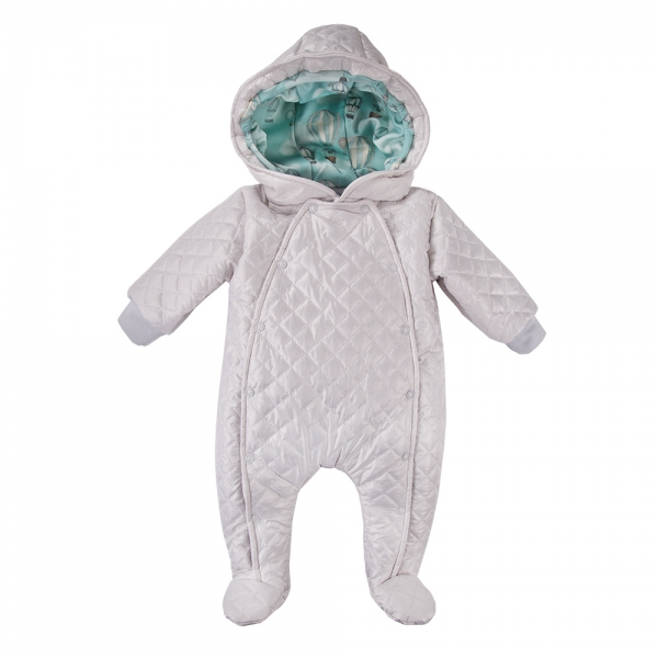 EEVI Dětská přechodová, prošívaná kombinéza s kapucí - šedá