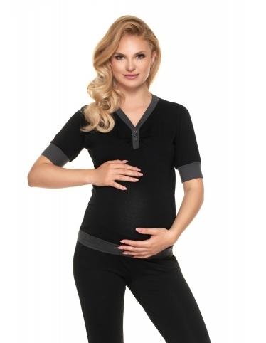 Be MaaMaa Těhotenské, kojící pyžamo s kr. rukávem - černé