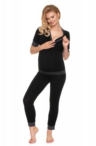 Be MaaMaa Těhotenské, kojící pyžamo s kr. rukávem - černé, vel. L/XL