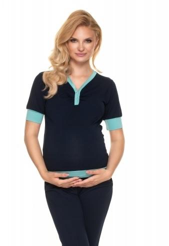 Be MaaMaa Těhotenské, kojící pyžamo s kr. rukávem - granátové