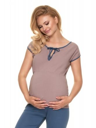Be MaaMaa Těhotenské, kojící pyžamo s kr. rukávem - cappuccino/jeans, vel. L/XL