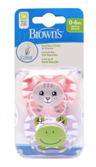 Dr.Browns Ortodontický silikonový dudlík Prevent, Kočička/Žabička, 0-6 m