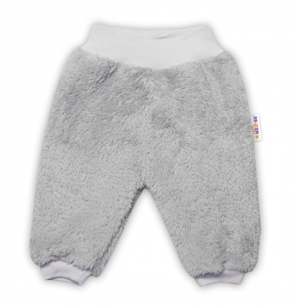 Baby Nellys Kojenecké chlupáčkové tepláčky Cute Bunny - šedé
