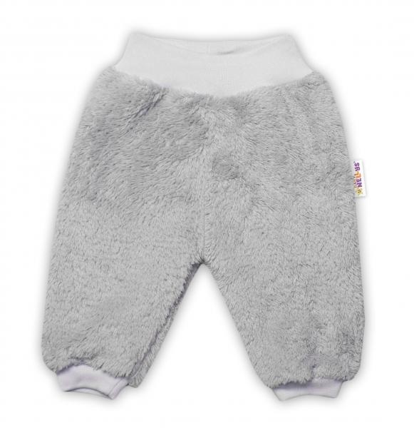 Baby Nellys Kojenecké chlupáčkové tepláčky Cute Bunny - šedé, vel. 74