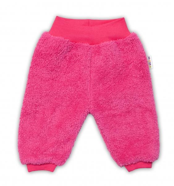Baby Nellys Kojenecké chlupáčkové tepláčky Cute Bunny - malinové