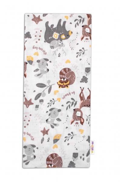 Baby Nellys Kvalitní bavlněná plenka - Tetra Premium, 70x80cm - Lesní zvířátka, bílá