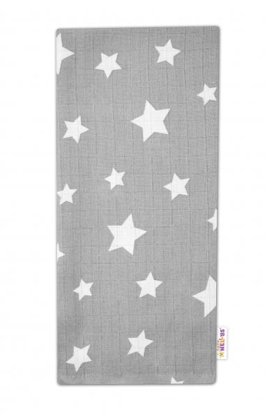 Baby Nellys Kvalitní bavlněná plenka - Tetra Premium, 70x80cm - Hvězdičky bílé na šedém