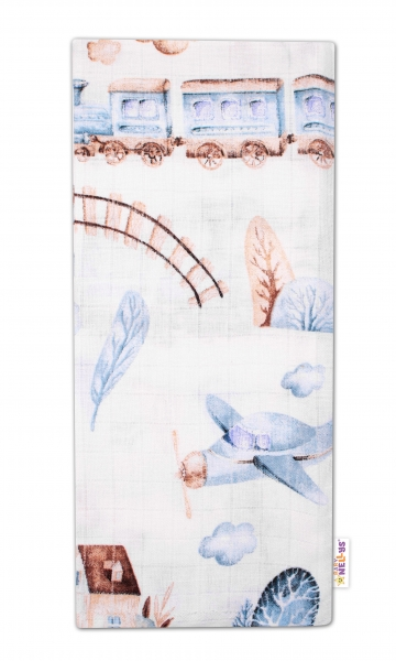 Baby Nellys Kvalitní bavlněná plenka - Tetra Premium, 70x80cm - Vláček, bílá