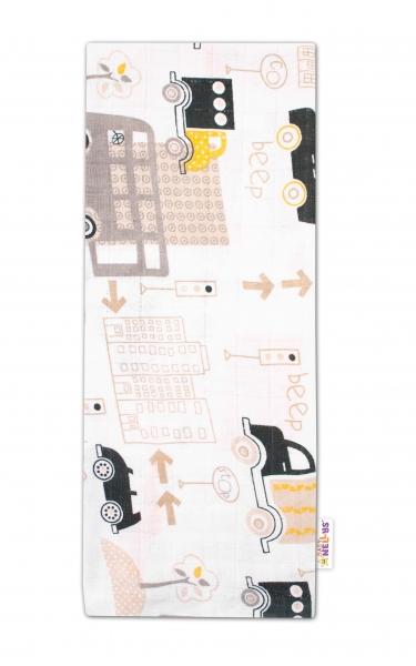 Baby Nellys Kvalitní bavlněná plenka - Tetra Premium, 70x80cm - Auta, bílá